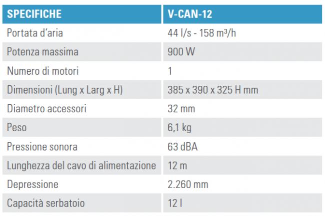 Scheda tecnica Tennant V-CAN-12